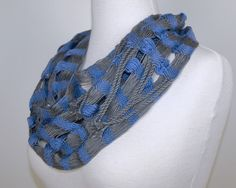 Blue Violet & Gray Cowl Infinity Scarf by Loomination