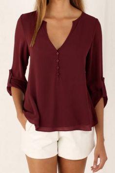 Elegant New Women Blouse Shirt Chiffon Summer 2017 Casual V Neck Sleeve Vintage Tops Tee Chemise Femme Blusas Feminina Chiffon Shirt, Chiffon Tops, Red Chiffon, Beaded Chiffon, Chiffon Fabric, Loose Tops, Loose Shirts, Loose Fit, Button Shirts