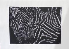 """""""Zebras""""  Linoleum block print on Rives BFK."""