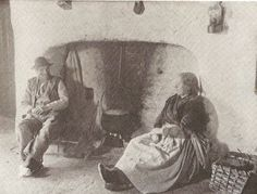 By the fireside in an Aran cottage.