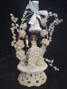 Vintage 1950's Wedding Cake Topper Bride Groom Bell Flowers | eBay