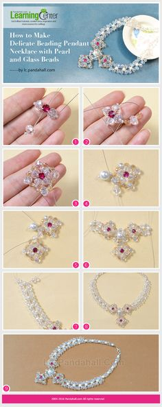 Tutorial on How to Make Delicate Beading Pendant Necklace with Pearl and Glass Beads from LC.Pandahall.com #pandahall