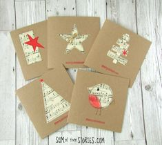 · A set of 5 hand made Christmas cards featuring real sheet music on recycled kraft card. There are 5 designs included in the set of Robin, 2 star designs and 2 tree designs. All the designs are hand… Merry Christmas Greetings, Christmas Card Crafts, Homemade Christmas Cards, Christmas Cards To Make, Homemade Cards, Christmas Decorations, Christmas Music, Recycled Christmas Cards, Xmas Cards Handmade