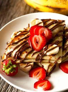 Chocolate Banana Crepes by Deliciously Yum! - Chocolate Banana Crepes by Deliciously Yum! Crepe Recipes, Dessert Recipes, Pancake Recipes, Waffle Recipes, Breakfast Recipes, Breakfast Sandwiches, Homemade Breakfast, Dessert Food, Breakfast Ideas