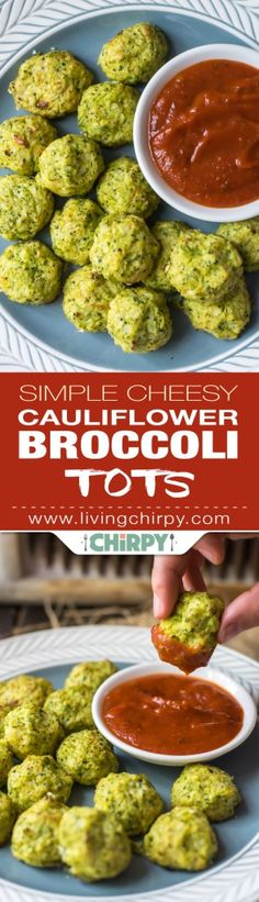 Simple Cheesy Cauliflower Broccoli Tots - a great paleo/low-carb/gluten-free version of tots using just 4 ingredients! Perfect way to trick the kids into eating vegetables.