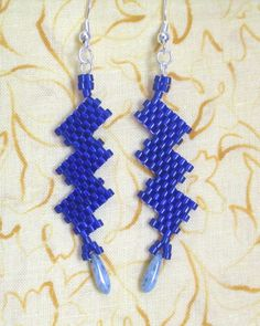 Cobalt lightning bolt earrings handmade by me at https://www.etsy.com/listing/191524639/cobalt-lightning-bolt-earrings-3-long