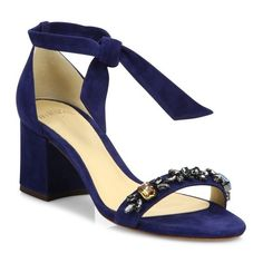 Alexandre Birman Clarita Jeweled Suede Block Heel Sandals (1 046 460 LBP) ❤ liked on Polyvore featuring shoes, sandals, navy, suede sandals, block-heel sandals, navy heeled sandals, color block sandals and navy shoes