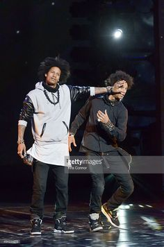 Larry Bourgeois and Laurent Bourgeois of Les Twins perform during YouTube On Stage Live from the...