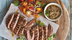 Chimichurri is a green sauce that is traditionally served with barbecued or grilled meat in Argentina. Rib-eye is my favourite cut of beef for a steak, as it has the perfect balance between flavour and value for money.