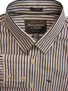 727cc226ef ABERCROMBIE & FITCH Shirt Mens 17 XL Blue & White Stripes MUSCLE - £29.99