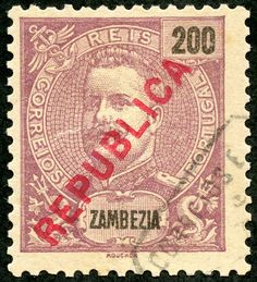 Zambezia  1917 Scott 104 200r red violet/pinkish Stamps of 1898-1903 Overprinted Locally in Carmine