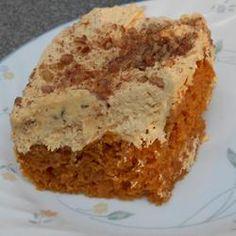 Angel Pumpkin Cake w/ Sugared Pecans - 1 (16 oz) Betty Crocker Angel Food Cake mix; 1 (30 oz) can Libby's Easy Pumpkin Pie Mix; 1 teaspoon pumpkin pie seasoning; Fresh ground nutmeg; 1 (12 oz) tub Cool Whip, thawed; 1 cup canned pumpkin; 1/2 teaspoon pumpkin pie spice; 1 (3.4 oz) instant vanilla pudding; and sugared pecans   (Linda Beth's Pumpkin Cake recipe)