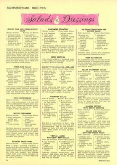 """Homemade Salad Dressings: """"The Woman's Day 1954 Summertime Cook Book"""" Salad + Dressing Recipes from """"Woman's Day"""" Retro Recipes, Old Recipes, Vintage Recipes, Cooking Recipes, Cooking Games, Kitchen Recipes, Sauces, Canned Pears, Recipes"""