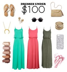 """""""Dresses under 100$ 👌🏻👗"""" by hayatbabay ❤ liked on Polyvore featuring H&M, Hollister Co., Mar y Sol, Sole Society, Bling Jewelry and Obsessive Compulsive Cosmetics"""
