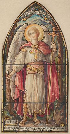 St. Raphael, the Guardian of Travelers: Design for a Stained Glass Window, Memorial to Canon McGrath Designed and drawn by D. Maitland Arms...