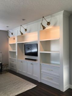 gunmetal gray bedroom built ins with polished nickel Living Room Wall Built in Shelves Living Room Decorating Ideas