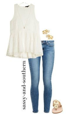 """""""cuteeee outfit"""" by sassy-and-southern ❤ liked on Polyvore featuring Paige Denim, TIBI, Jack Rogers, Kate Spade and Jeweliq"""