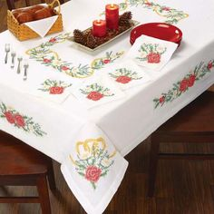 Christmas Roses Table Linens Stamped Cross-Stitch - Herrschners