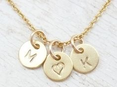 Tiny Gold Initial Necklace 3 Discs, 14K Gold filled Chain, Personalized Hand Stamped Custom Disc Pendant, Bridesmaid Necklace