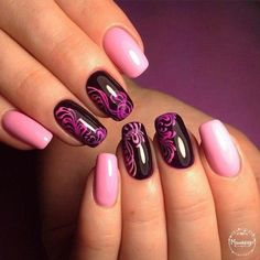 These pink and purple nails are cute af!