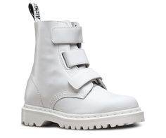 The new Coralia is a 3-strap Velcro boot in Venice leather — a lightweight, full-grain leather with a soft feel. Made in a monotone style (leather, straps, stitching and sole). In black, the Coralia is all goth—but in bright white, it's surprising, fresh and totally rebellious.