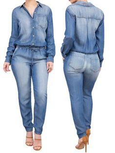 Cheap long jumpsuit women, Buy Quality jeans jumpsuit directly from China long jumpsuit Suppliers: Casual Full Sleeve Denim Long Jumpsuits Women Vintage Buttons Pocket Drawsting Waist Loose Jeans Jumpsuit Plus Size Rompers Jumpsuit Outfit, Jeans Jumpsuit, Jeans Dress, Dress Shoes, Shoes Heels, Black Girl Fashion, Denim Fashion, Fashion Outfits, Style Fashion