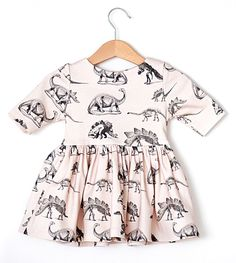 Pink Dinosaur Baby Girl Dress