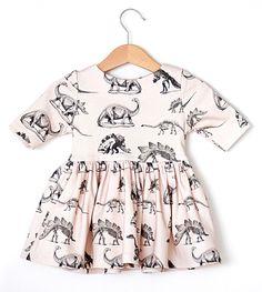 Pink Dinosaur Baby Girl Dress