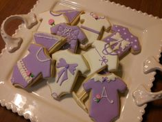 Baby shower favors. Baby couture onesie sugar cookies