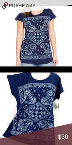 Lucky brand embroidered indigo bandana top. New. Small. Cute and comfy Lucky Brand Tops Tees - Short Sleeve