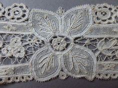 Victorian Brussels Duchesse Lace Lappet Front Collar with Point de Gaze Panels | eBay