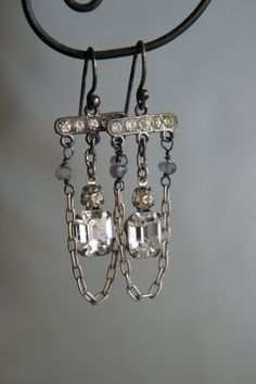 Vintage+assemblage+earrings+rhinestones+by+frenchfeatherdesigns,+$49.00