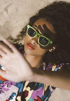 photography by RACHEL JIAM Etnia Barcelona, Fashion 2020, Ibiza, Cat Eye Sunglasses, Eyewear, Neon, Photoshoot, Models, Makeup