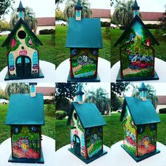 """""""Mountain Home"""" Belated Birthday gift for my wife and a tribute to the Southwest Virginia/ West Virginia area where my in-laws are from- Craft Paint and Marker will be coated in Polycrylic Urethane Belated Birthday, Birthday Gifts, Painted Boxes, Hand Painted, Craft Paint, Gifts For My Wife, Birdhouses, Wood Boxes, West Virginia"""