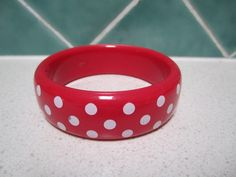 Vintage Plastic Bangle  Red with White Polka by LilyPilyVintage