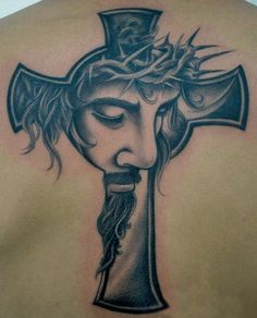 "Jesus Cross on skin. This image was found on the internet. Tattoo artist/shop and subject/canvas are unknown. This is an interpretation of my design ""Jesus Cross"". View The Original Design I'm alwa..."
