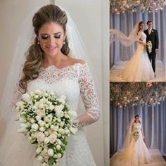 Gorgeous Off Shoulder Long Sleeve Zip Up Long A-line Princess Wedding Dresses, WD0141