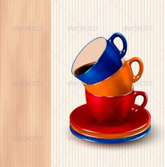 Background with colorful cups of coffee Coffee des