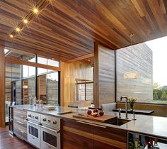 Sam's Creek - contemporary - Kitchen - New York - Bates Masi Architects LLC Home Interior Design, Interior Architecture, Interior Decorating, Kitchen Interior, Luxury Interior, Exterior Design, Casa Park, Kitchen Ceiling Design, Kitchen New York