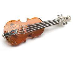 Violine Amber Brooch / Bernstein Brosche Violine