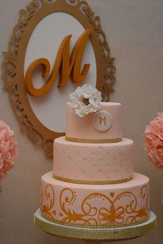 What a stunning gold trimmed cake at a teen birthday party! See more party ideas at CatchMyParty.com!