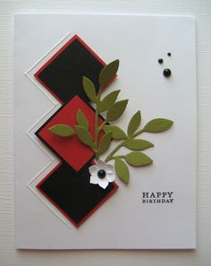 [063%255B5%255D.jpg]  Using your scoring board, a diamond effect worked perfect with the mounting of SU! square punches.  Little leaves and Boho Blossom punch provided the accents.  A case of clean and simple on a one layer card.