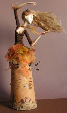 By Julia Petrakova. This link has been blocked, but it's a very beautiful art doll. Clay Dolls, Doll Toys, Art Dolls, Diy Fimo, Marionette, Paperclay, Gourd Art, Soft Sculpture, Beautiful Dolls
