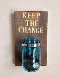 KEEP THE CHANGE - Laundry room decor Change Jar, Room Decor, Diy Home Decor, Landry Room, Projets Diy, Keller, Bathroom Interior, Bathroom Designs, Modern Bathroom