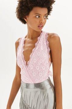 Lace Tie Side Plunge Body