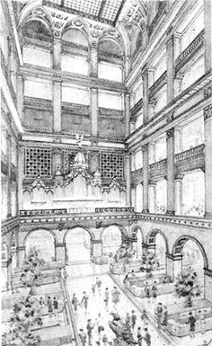 Focal point of the 1911 store was the so-called Grand Court, which rose up through the building. The Organ and Christmas Light Show, and famous Wanamaker Eagle called the Grand Court home.