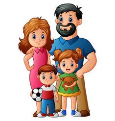 Happy family cartoon vector image on VectorStock Cute Girl Drawing, Drawing For Kids, Art For Kids, Happy Cartoon, Cartoon Images, Family Picture Cartoon, Family Relationship Chart, School Picture Frames, Family Coloring Pages