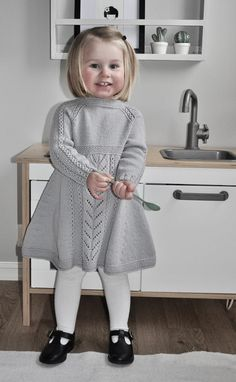 Soria Moria Kjole pattern by Wenche Steffensen – Knitting patterns, knitting designs, knitting for beginners. Baby Cardigan Knitting Pattern Free, Kids Knitting Patterns, Baby Hats Knitting, Knitting For Kids, Baby Patterns, Girls Knitted Dress, Knit Baby Dress, Knitted Baby Clothes, Designer Kids Clothes
