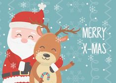 santa and reindeer celebration happy christmas card - Buy this stock vector and explore similar vectors at Adobe Stock Christmas Images, Christmas Art, Christmas Greetings, Christmas Themes, Vintage Christmas, Illustration Inspiration, Cute Illustration, Christmas Balloons, Christmas Poster
