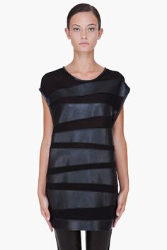 Denis Gagnon Oversize Leather Trim Muscle Tank for Women | SSENSE